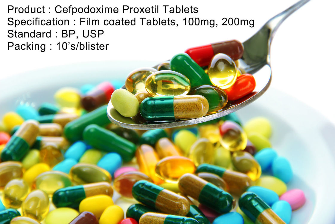 Cefpodoxime Proxetil Tablets Film coated Tablets, 100mg, 200mg Oral Medications Antibiotics